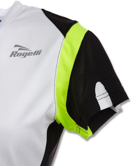 Funkcjonalna koszulka Rogelli EABEL damska, biało-czarno-żółta odblaskowa