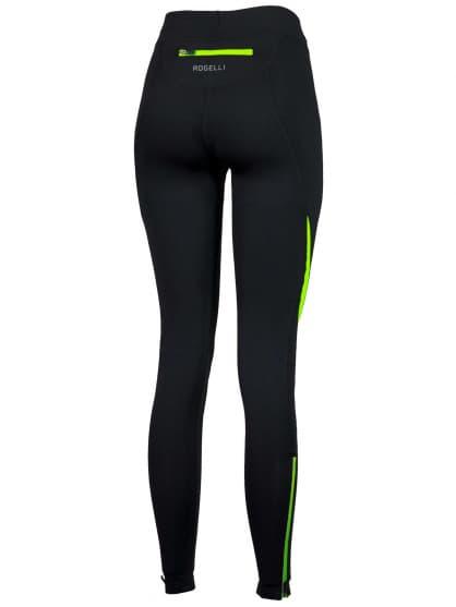 Spodnie do biegania Rogelli EMNA damskie, czarno-żółte odblaskowe