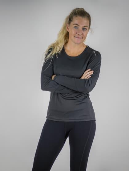 Funkcjonalna damska koszulka sportowa Rogelli BASIC z długim rękawem, czarna