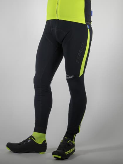 Ocieplane spodnie kolarskie Rogelli TRAVO 3.0 z żelową wkładką kolarską, czarne-żółte odblaskowe