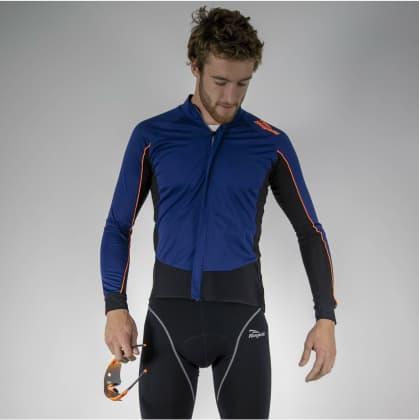 Wodo i wiatroodporna koszulka kolarska z długim rękawem Rogelli W2 z softshellem i DWR, niebiesko-pomarańczowa