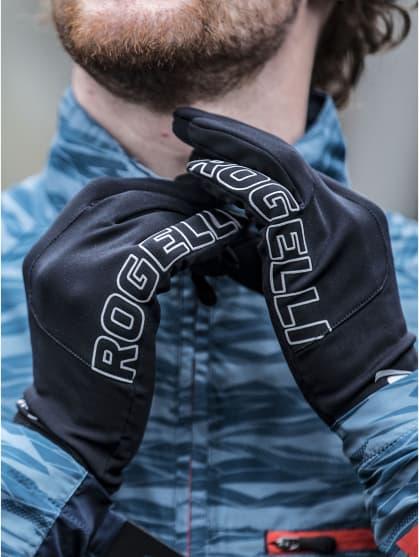 Męskie zimowe rękawiczki do biegania Rogelli TOUCH, czarne
